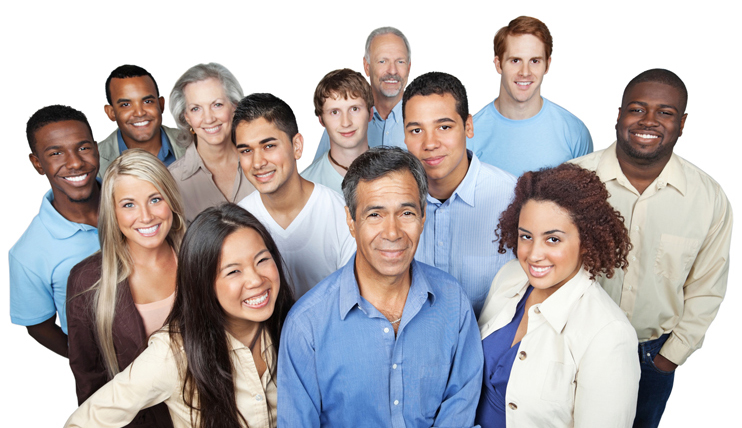 Diverse group of people excited for new opportunities